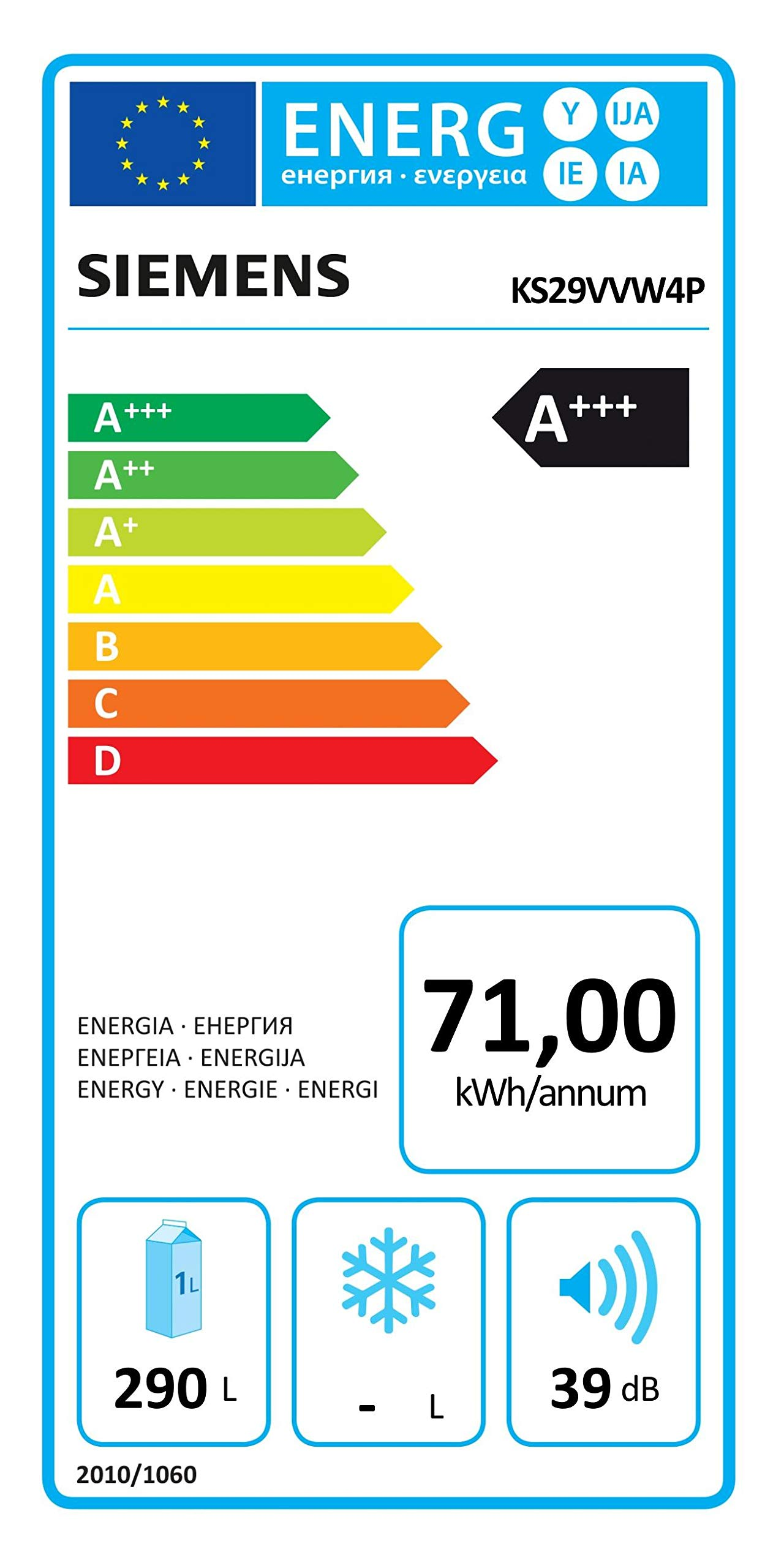 Siemens KS29VVW4P Kühlschrank / A+++ / 161 cm / 71 kWh/Jahr / 292 L Kühlteil / Supercooling