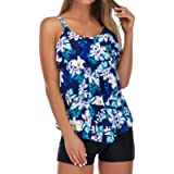 RXRXCOCO Plus Size Tankini Swimsuits for Women with Shorts Tankini Tops Tummy Control Bathing Suit