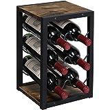 OROPY Vintage wijnrek voor 6 houten flessen, 3-etages, vrijstaand bureau-flessenhouder, opbergrek voor keuken, kast, bar, kel