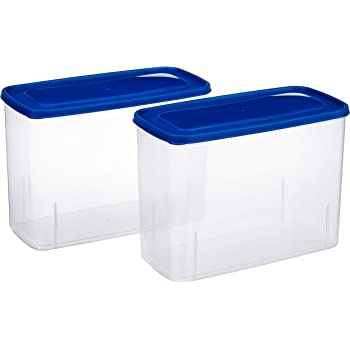 Amazon Brand - Solimo Set of 2 Kitchen Storage Container (3.4L), Blue