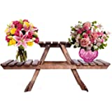 AMAH Planter Stand Table/Wooden Stool/Flower Pot Stand, Standard Size, Brown Easy to Handle