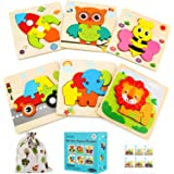 Luclay Toddler Jigsaw Puzzles for 2 3 4 5 Year Olds kids Wooden Toys, Boys & Girls Educational Montessori Toys Gift with 6 Br