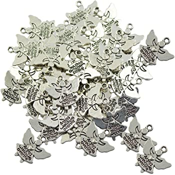 Julz Beads 20 Angel Charms Antique Silver Tone Christmas Fairy 20mm x 14mm P00170H