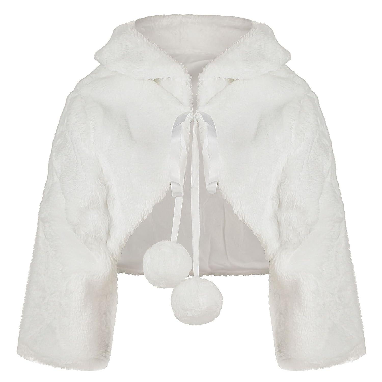 Girls Faux Fur Jacket ¾ Sleeve Bridesmaid Tippet Bolero Wrap ...