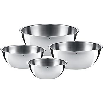 WMF Schüssel-Set Gourmet, für die Küche 4-teilig, edelstahl, Cromargan, multifunktional als Rührschüssel, Salatschüssel, Servierschüssel, stapelbar