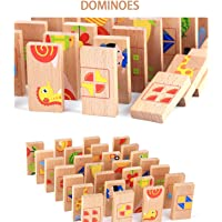 Toyshine 28 Pcs Printed Educational Wooden Toy Domino Animal Puzzles Kids, Game Gift