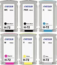 HOTCOLOR 6Pack 72 Ink Cartridge Remanufactured Replacement for HP 72,Photo Black, Cyan, Magenta, Yellow, Gray, Matte Black f