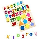 AiTuiTui Conseil Puzzle Alphabet en Bois, Couleurs Vives 26 pièces ABC Lettres Blocs pour des Gamins/Les Enfants/Garçons/Fill