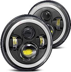 Biroller BR7IH2P 7 Inch Round LED Headlight with Full Ring Hi/Lo Beam Halo Angel Eyes for Jeep Harley Davidson Cruiser (40W)