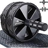 Amonax - Rullo per addominali convertibile con grande tappetino per ginocchia per esercizi core addominali. Set di ruote doppie con doppia modalità di allenamento fitness forza in palestra o a casa