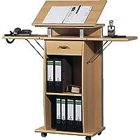 Certeo Stehpult in Buche | Mobiler Tisch mit Laufrollen | Verstellbare Tischfläche | HxBxT 130 x 70 x 37 cm | Stehtisch…