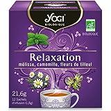 Yogi Biologique Relaxation, Infusion 100% Bio Mélisse, Camomille et Fleurs de Tilleul, 12 Sachets thermosoudés et sans agrafe