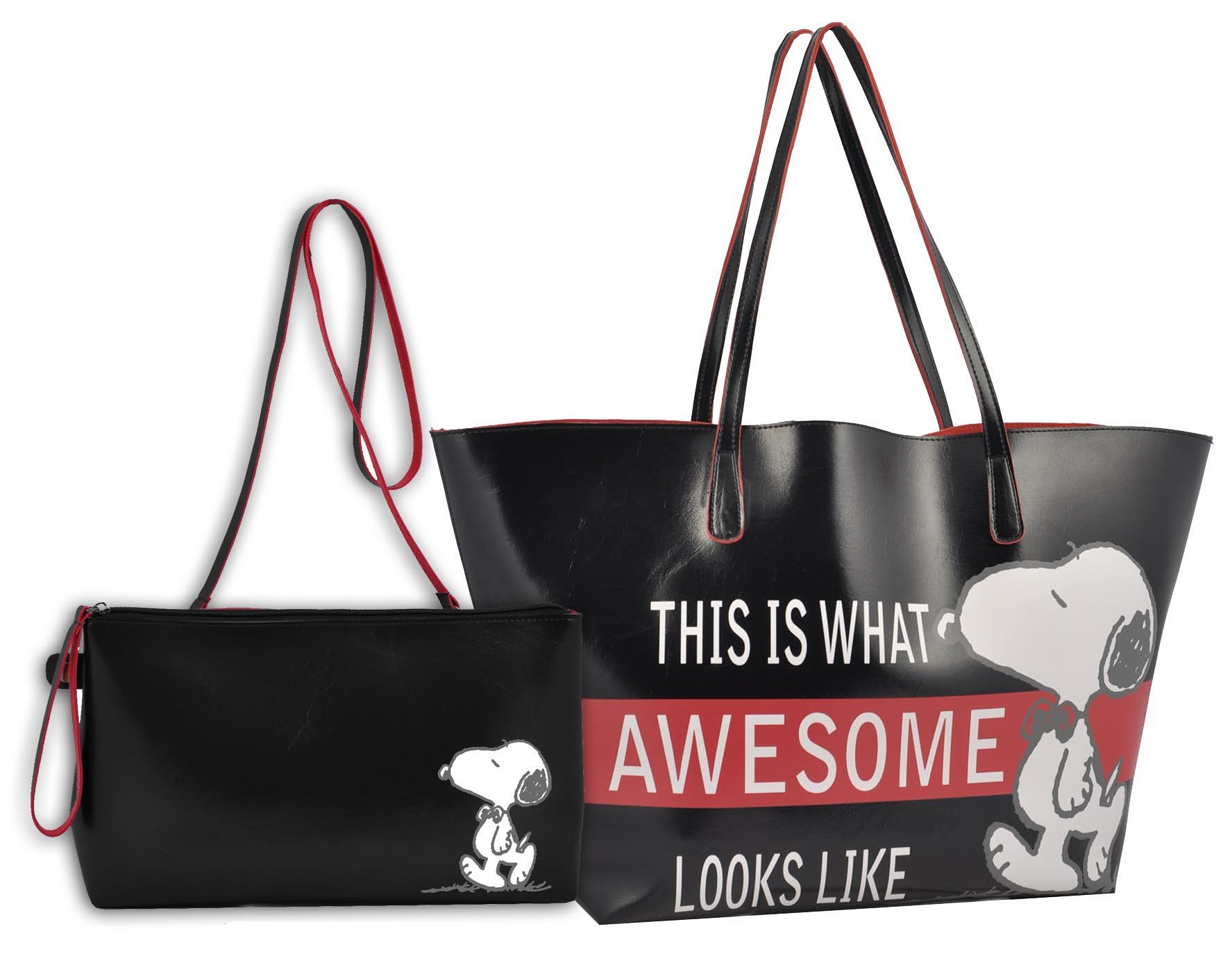 Peanuts P93240 - Borsa Shopping Grande con Pouch Awesome, Nero