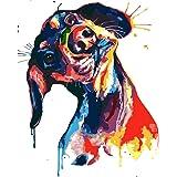 HQKNIGHT DIY Oljemålning av siffror Hund, målning av siffror Barn och vuxna Oljemålningssatser för hemväggdekor (40 * 50 cm)