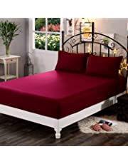 """Dream Care™ Waterproof Dustproof Terry Cotton Mattress Protector for King Size Bed - 72""""x78"""", Maroon"""