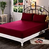 "Dream Care Waterproof Terry Cotton Fitted Mattress Protector for King Size Bed with Elastic Strap - 78""x72"", Maroon"