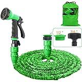 HOMOZE Garden Hose Pipe 100FT Garden Hose Expanding Flexible Magic Hosepipes with 8 Function Watering Gun/Storage Bag/ Tap Co