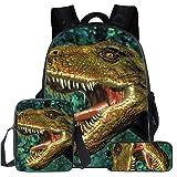 Mochila para Niños, Mochilas Dinosaurio con Bolsa de Hombro para Almuerzo Estuche para Lápices Conjunto de Mochilas Escolares