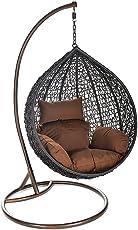 Home Deluxe - Polyratten Hängesesel - Cielo - inkl. Gestell, Sitz- und Rückenkissen