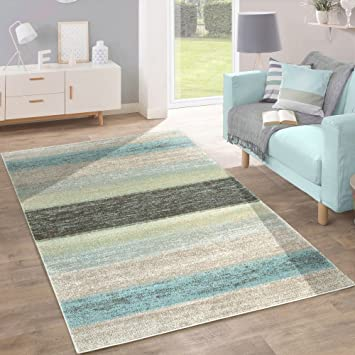 Amazon.De: Designer Teppich Modern Wohnzimmer Farbverlauf Streifen