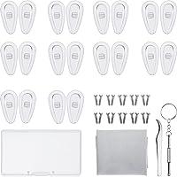 Kit de Réparation de Lunettes 10 Paires Plaquettes de Nez en Silicone Chambre à Air Nose Pads Lunettes à Visser avec Vis…