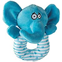 Goofy Tails Small and Medium Breeds Puppy Dog's Polyester Fiber Fill Elephant Ring Squeaky Plush Toy