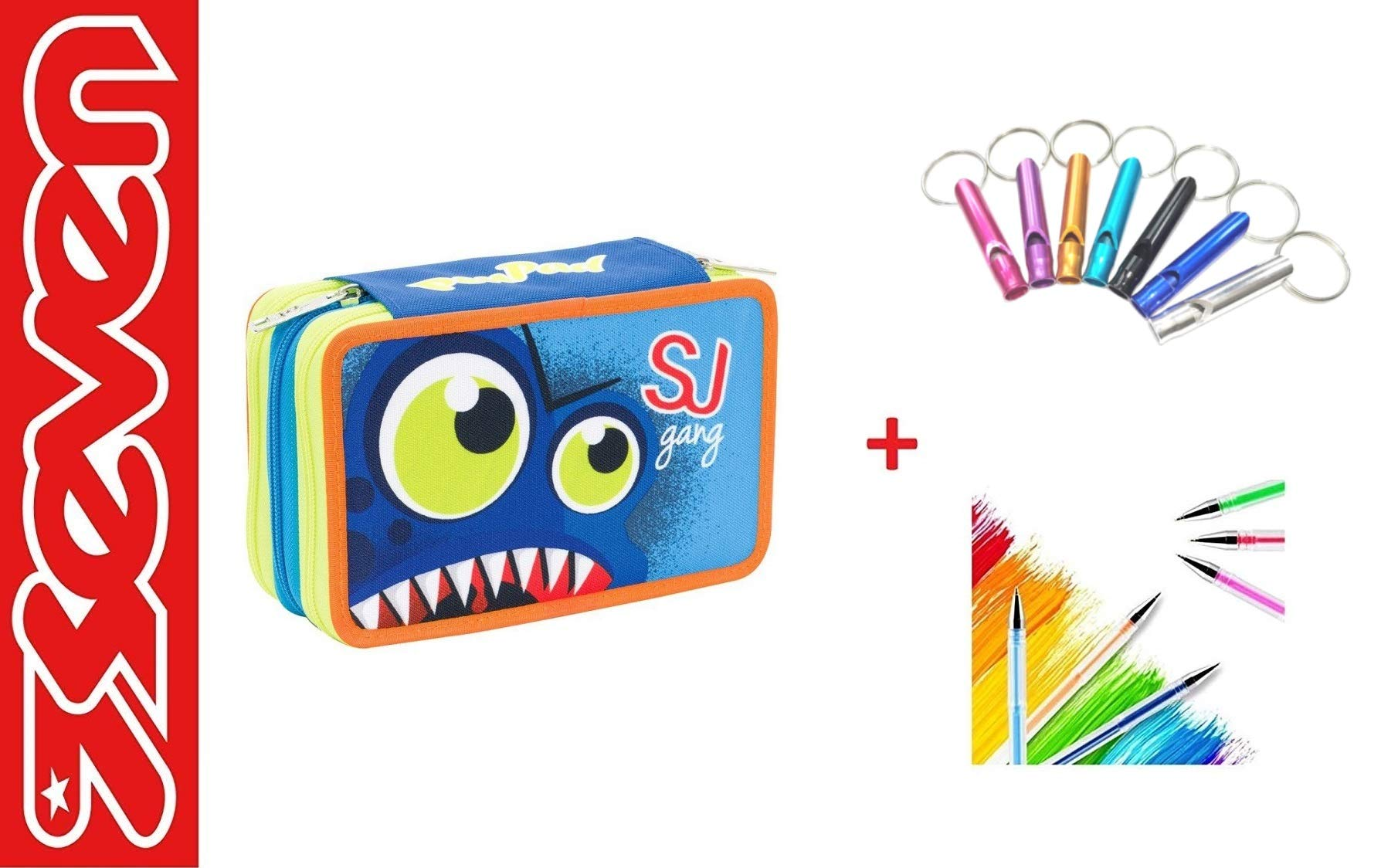 Estuche Seven SJ Gang Boy para niño con dientes azules PEN PAD Escuela 3 pisos completo + llavero silbato + bolígrafo de colores