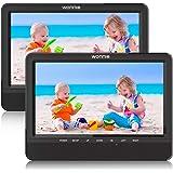 """WONNIE 2 10,5"""" tragbare Auto DVD Player 4 Stunden Kopfstütze Monitor 1024 * 600 HD Bildschirm Kopfstütze montieren, Support für USB/SD, AV IN/Out, Car-Reiseunternehmen für Familie (1Host +1 Slave)"""
