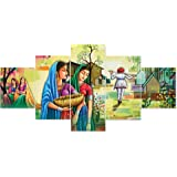 Saumic Craft Set Of 5 Rajasthani Village Lady Scenery Framed Wall Painting For Home Decoration , Living Room , Office , Hotel