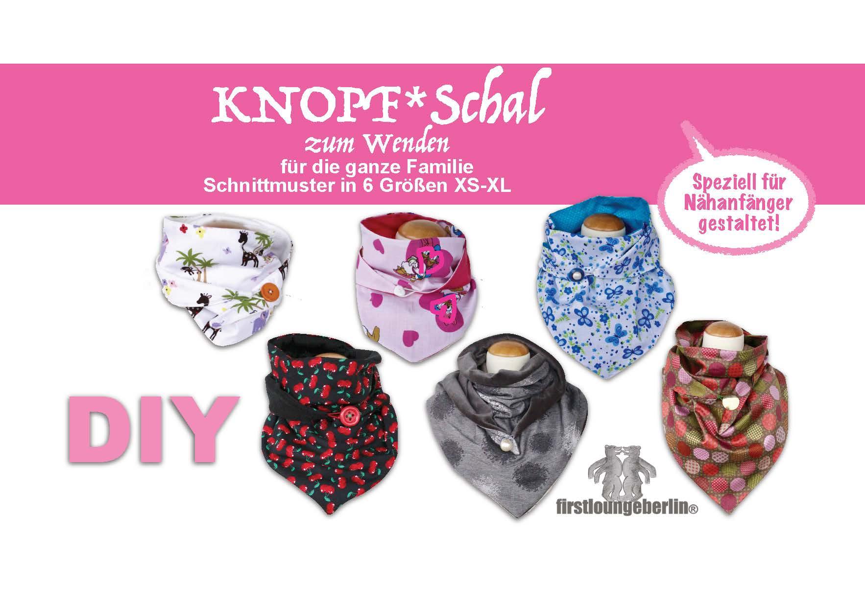 KNOPF-Schal auch zum Wenden in 5 Größen für die ganze Familie Schnittmuster & Nähanleitung [Download] (Cord Fell Denim)