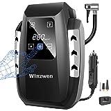 Winzwon Compresseur d'Air Portatif 12V, Compresseur Voiture d'air Digital 150PSI 35L / MIN Auto Gonfleur Pneus, Electrique Co