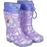 PERLETTI Botas de Aguas Niñas Frozen 2 Princesas Elsa y Anna - Calzado de Lluvia Reino del Hielo Violeta con Suela Antidesliz