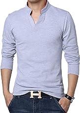 LionRoar Men's Cotton Long Sleeve Chinese Collar Polo Neck T-Shirt for Men