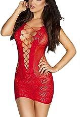Ladylove Women Fishnet Babydoll Lingerie Mesh Chemise Babydoll Mini Dress (RED)