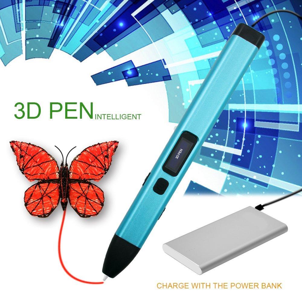 3D Stylo d'impression pour Enfant, MODAR Non-Toxique Basse Température 3D Pen Rechargeable avec Lumière LED, USB Chargeur, 2 Couleurs 1.75mm PCL Fils Filament, Pochoirs, Moules, Autocollant d'Emoji [Compatible avec Filament en PCL] (Bleu)