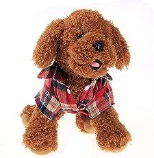 Gugutogo Camicia per animali domestici in tartan alla moda Camicia per cani estivi Vestiti per cani alla moda per cani (Colore: rosso) (Taglia: S)
