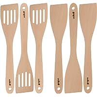 Uulki® Ensemble de Spatules Retourneurs Cuillères Ecologiques en Bois 6 pièces - avec 3 spatules perforées fendues – en…