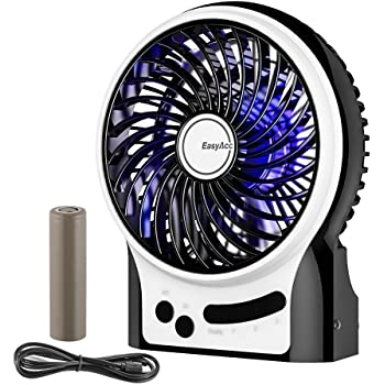 Battery Fan, EasyAcc Rechargeable Fan Protable Handheld Personal Mini USB fan with LG 2600mA Battery,3 Speeds Internal and Side Light,Cooling for Traveling,Fishing,Camping - Black