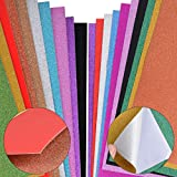20 Feuilles A4 Papier Paillette Autocollant + Papier Glitter Brillant Coloré Bling pour Scrapbooking Carte Décoration Album D