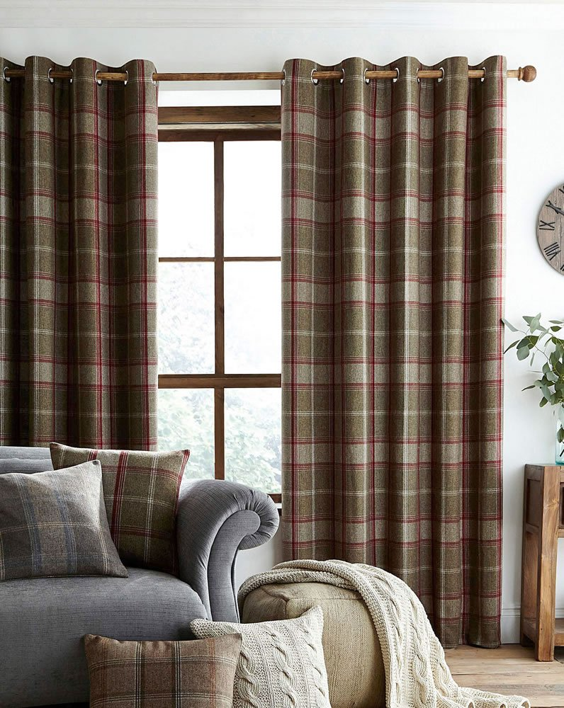 Plaid Curtains For Living Room Highland Faux Wool Effect Lined Ring Top Curtains Pair Green