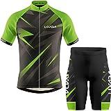 Lixada Fietsshirt met korte mouwen voor heren, ademend zomershirt met korte mouwen en fietsbroek, gevoerde short, MTB-fietspa