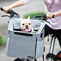Emily Pets Pet Carrier Bicycle Basket Bag Pet Carrier/Booster Backpack for Dogs and Cats with Big Side Pockets,Comfy & Padded Shoulder Strap,Travel with Your Pet Safety (Grey)