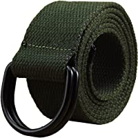 """Mens & Womens Canvas Belt with Black D-ring 1 1/2"""" Wide Extra Long Solid Color"""