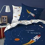 MATT & ROSE Explore Space Parure de lit, Coton, Blanc, 140X200 Cm