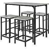 SoBuy® OGT11-HG Set de 1 Table + 4 Tabourets Ensemble Table de Bar bistrot + 4 tabourets avec Repose-Pieds Table Mange-Debout
