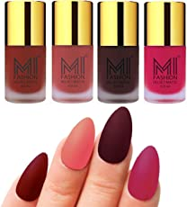 Mi Fashion Velvet Dull Matte Nail Polish, Red, Light Peach, Wine, Pink, 39.6ml (4 Pieces)