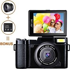 Digital Kamera Camcorder, weton Full HD 1080p Video Kamera 24.0 MP 7,6 cm Flip Bildschirm Vlog Kamera LCD Mini Camcorder mit Weitwinkel Objektiv und Blitzlicht (Zwei Batterien Enthalten)