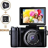 Digital Camera, caméscope Weton Full HD 1080p Caméra vidéo 24.0MP 7,6cm Flip écran Vlog Camera LCD Mini caméscopes avec Objectif Grand Angle et Flash Light (Deux Piles incluses)