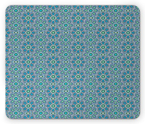 Blue Green Mouse Pad, Oriental Asian Motifs with Oval Leaves Eastern Cultural Heritage Theme Artwork, Standard Size Rectangle Non-Slip Rubber Mousepad, Multicolor