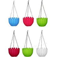 Go Hooked Plastic Planters With Hanging Chain, Assorted Colour, 8.5 x 6 inch, 6 Pieces